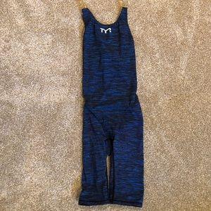 TYR Women's Thresher Baja Open Back Tech Suit BLUE